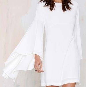 Nasty Gal Hells Bells white crepe dress XS